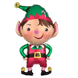 "Jolly Christmas Elf SuperShape Balloon - 35"" Foil"