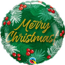 "Merry Christmas Holly Balloon - 18"" Foil"
