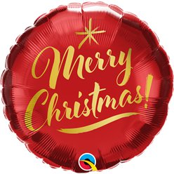 "Merry Christmas Gold Script Balloon - 18"" Foil"