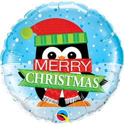 "Merry Christmas Penguin Balloon - 18"" Foil"