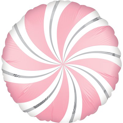 "Bubblegum Pink Candy Swirl Balloon - 18"" Foil"