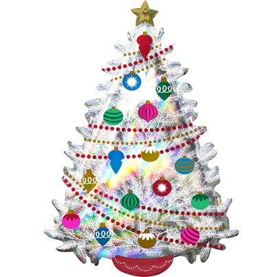 "Iridescent Christmas Tree SuperShape Balloon - 36"" Foil"