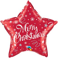 Festive Red Merry Christmas Foil Balloon -20""