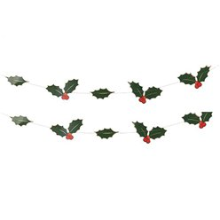 Foiled Holly Leave Garland - 5m
