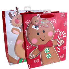 Large Gingerbread Man Christmas Gift Bag - 33cm