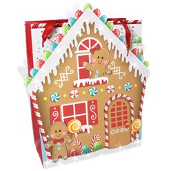 Large Gingerbread House Christmas Gift Bag - 45cm