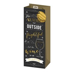 Novelty Black and Gold Bottle Bag - 35cm