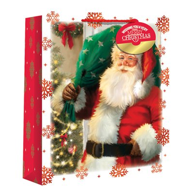 Large Traditional Santa Snowscene Christmas Gift Bag - 33cm