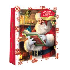 Medium Traditional Santa Snowscene Christmas Gift Bag - 25cm