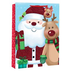 Extra Large Kids Santa and Rudolf Christmas Gift Bag with Wide Gusset