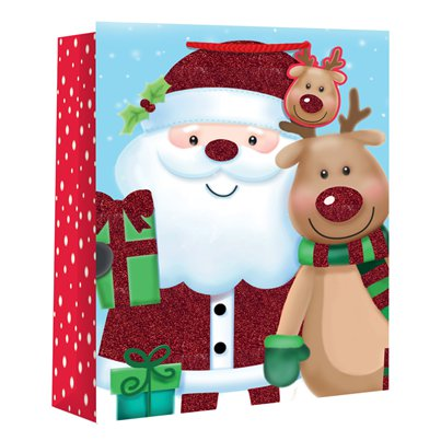 Large Kids Santa and Rudolf Christmas Gift Bag - 33cm