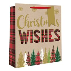Medium Tartan Christmas Tree Christmas Gift Bag - 25cm