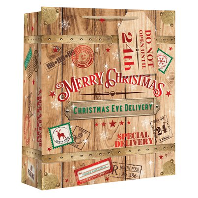 Extra Large Christmas Eve Gift Bag with Wide Gusset - 45cm