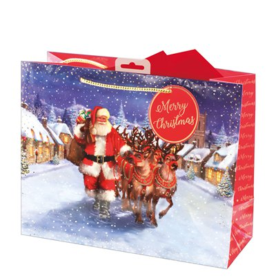 Traditional Santa Large Christmas Gift Bag - 33cm