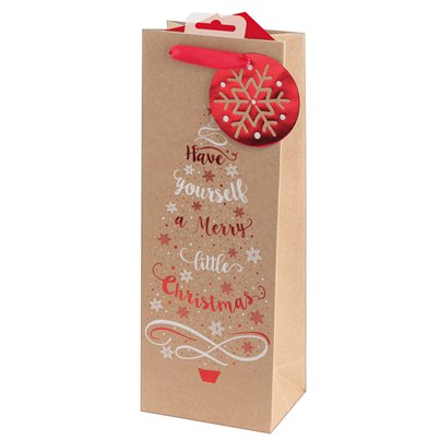 Kraft Tree Bottle Bag - 35cm