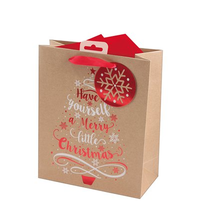 Kraft Tree Medium Christmas Gift Bag - 26cm