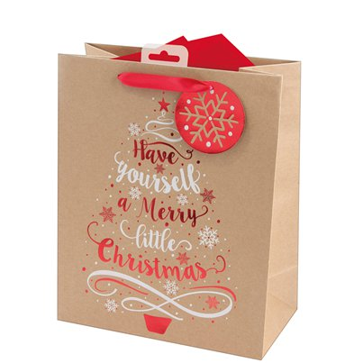 Kraft Tree Large Christmas Gift Bag - 33cm