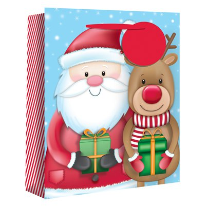 Extra Large Santa and Rudolf Christmas Gift Bag - 45cm