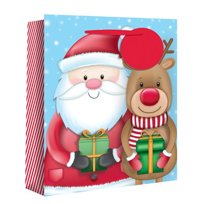 Large Santa and Rudolf Christmas Gift Bag - 33cm