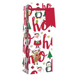 Ho Ho Ho Glitter Christmas Bottle Bag - 35cm