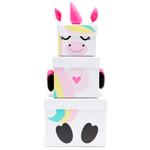 Unicorn Christmas Stacking Gift Boxes - 35cm