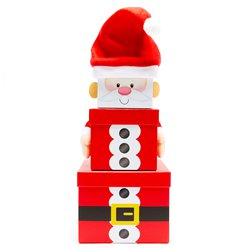 Santa Christmas Stacking Gift Boxes - 35cm