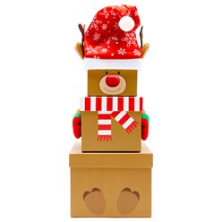 Reindeer Christmas Stacking Gift Boxes - 35cm