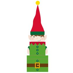Elf Christmas Stacking Gift Boxes - 30cm
