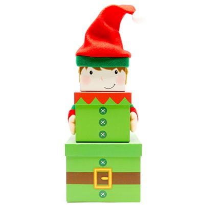 Elf Christmas Stacking Gift Boxes - 35cm