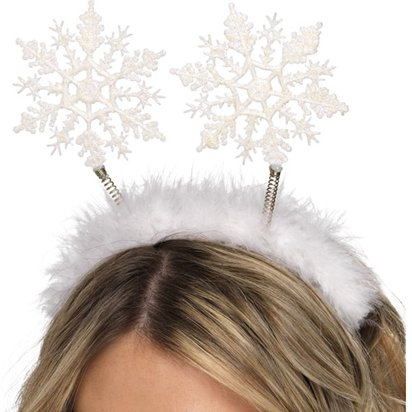 Fancy Dress White Frozen Christmas Snowflake Head Bopper Fluffy Ice Queen