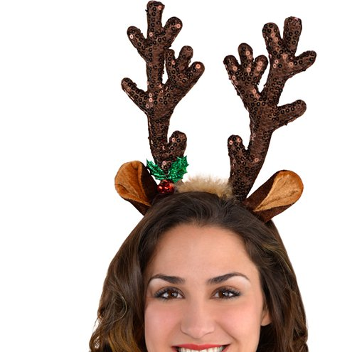 Xmas Winter Funny Fancy Dress Christmas Accessory NEW Glitter Reindeer Antlers