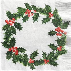 Holly Wreath Print Napkins - 40cm