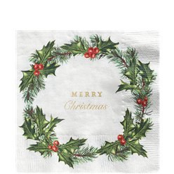 Holly Wreath Napkins -  33cm