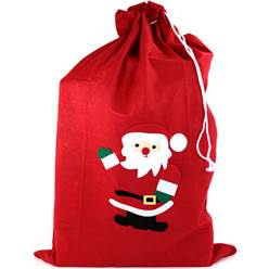 Santa Red Fleece Christmas Sack - 90cm