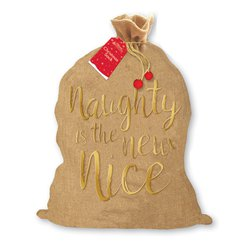 Naughty Is The New Nice Hessian Christmas Sack - 73cm