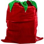 Red Velour Christmas Sack with Bells - 90cm