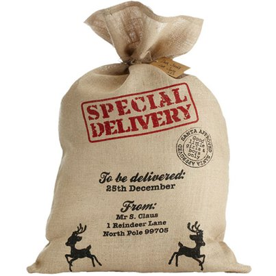 Large Hessian Christmas Sack - 80cm