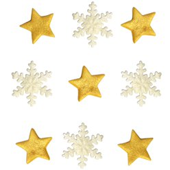 Gold Star and Snowflake Mix Sugarcraft Toppers