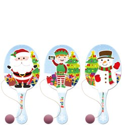 Christmas Paddle Bat & Ball - 22cm