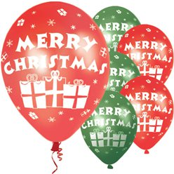 """Merry Christmas"" Red & Green Presents Balloons - 11"" Latex"