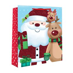 Medium Kids Santa and Rudolf Christmas Gift Bag - 25cm