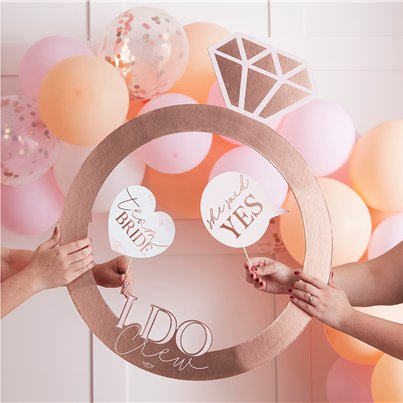 Rose Gold Hen Party Ring Photo Prop Frame
