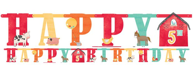 Barnyard Birthday Jumbo Add-an-Age Letter Banner - 3m