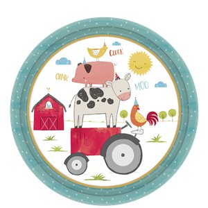 Barnyard Birthday Plates - 23cm Paper Party Plates