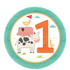 Barnyard 1st Birthday Plates - 18cm Paper Party Plates