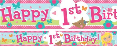 Princess 1st Birthday Paper Banners 1 design 1m each