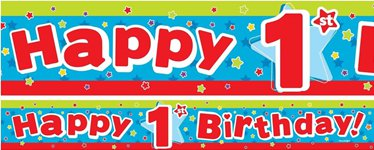 Stars 1st Birthday Paper Banners 3pk 1 design 1m each