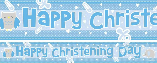 Christening Blue Paper Banners 1 design 1m each