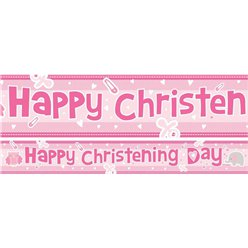 Christening Pink Paper Banners 1 design 1m each