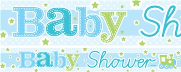 Train Baby Shower Paper Banners 1 design 1m each